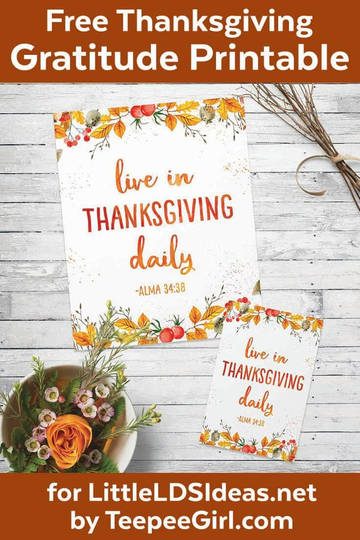 Free Thanksgiving Gratitude Printable Poster | Perfect for Thanksgiving table decor, home decor, gifts, lesson handouts, & more! www.LittleLDSIdeas.net