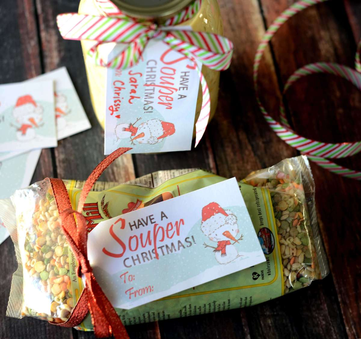 "Use these free ""Souper"" Christmas gift tags to make your soup and gifts festive!"