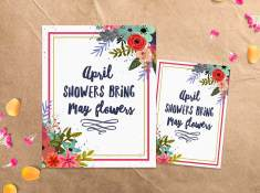 April Showers Bring May Flowers | Free Spring Printable | www.TeepeeGirl.com