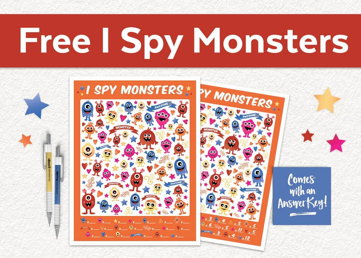 Free I Spy Monsters Printable Game - Teepee Girl