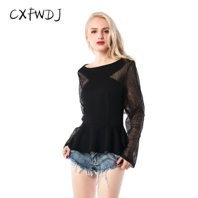 Kpop-Promotion-New-Arrival-Tumblr-2018-Spring-And-Summer-Sexy-Nightclub-Stitching-Gauze-Lotus-Leaf-Hollow_1