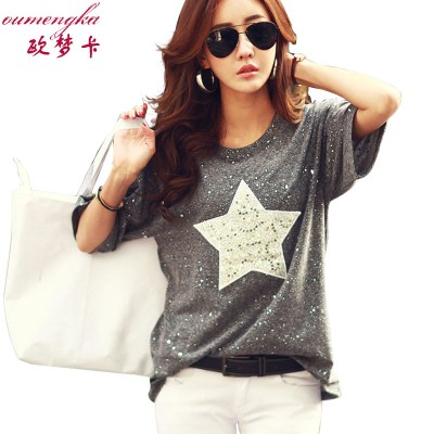 OUMENGKA-New-Fashion-T-Shirt-Women-Tops-Short-Sleeve-O-neck-Cotton-Tees-Star-Polka-Dot_6