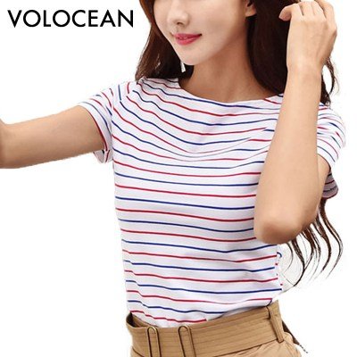 Volocean-2018-Cotton-T-shirt-Striped-Classic-Bottom-T-shirts-For-Women-Colorful-T-Shirt-Woman_19