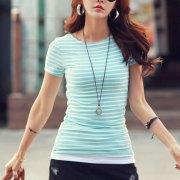 Volocean-2018-Cotton-T-shirt-Striped-Classic-Bottom-T-shirts-For-Women-Colorful-T-Shirt-Woman_21