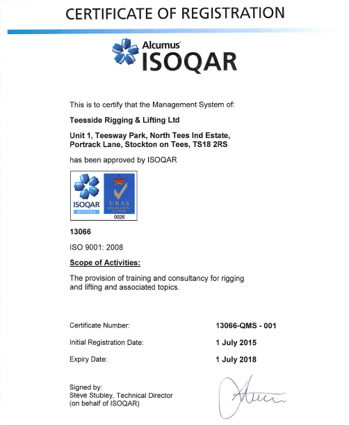Teesside Rigging & Lifting achieve ISO 9001, ISO 14001 & BS OHSAS ...