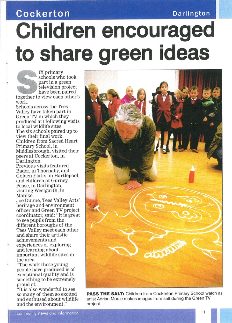2011- Darlington Dispatch, Children encouraged to share green ideas
