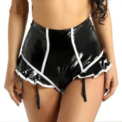 Faux Leather High Waist Panties with Garters