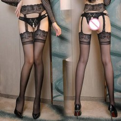 Open Crotch Garter Pantyhose Lace Top Thigh High Stockings