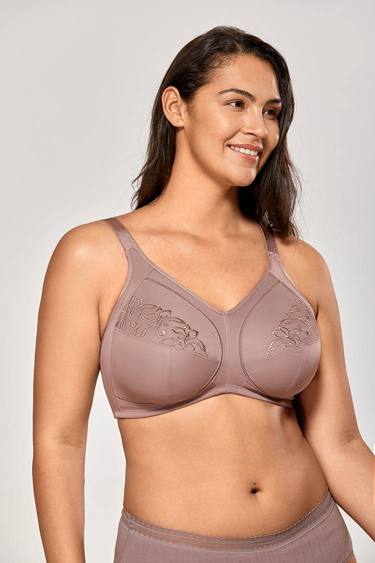 DELIMIRA Women's Floral Embroidered Non-Padded Full Coverage Wirefree Plus Size Bra