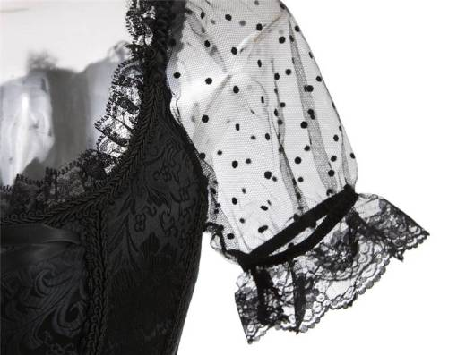Black Lace Corset Lingerie Overbust Straps With Sleeves