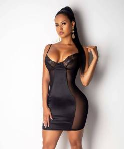 Tight Short Black Dresses Mesh Sheer
