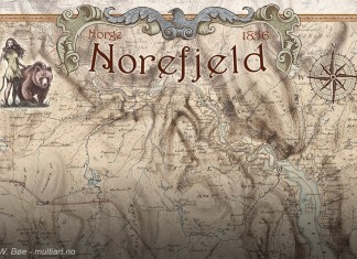 Plakat designet av W. Bøe, med Norefjell-kart fra 1856