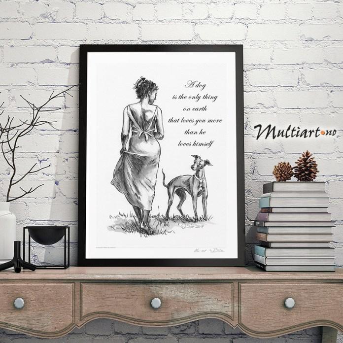 Tusj-tegning av dame med hund