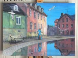 Maleri av Damstredet i Oslo
