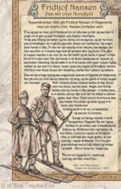 Kartusj med Fridtjof Nansen og frue, med tekst fra deres skitur over Norefjell i 1890