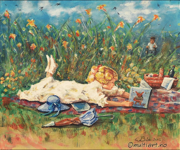 Akryl på lerret. Jente i blomstereng. Av W. Bøe