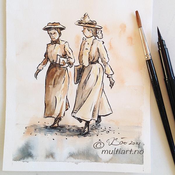 fine fruer tegning, ca 1900