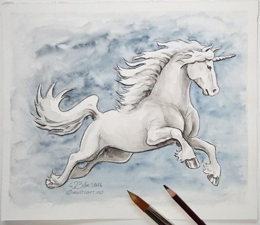 Tegning av en Enhjørning