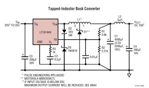 24V to 5V 10A power supply converter schematic diagram