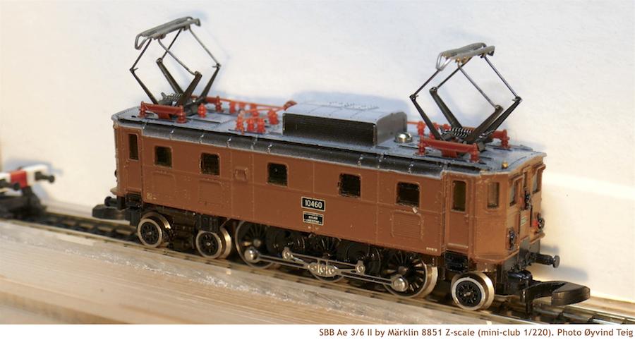 Märklin 8851 brown Z scale of SBB Ae 3/6 II (4-focus)