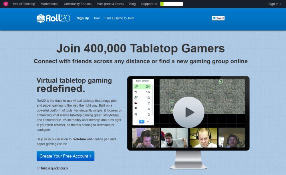Der virtuelle Tisch im Internet: Roll20 com
