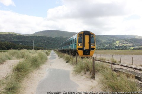 The Wales Coast Path and Cambrian Line south of Barmouth