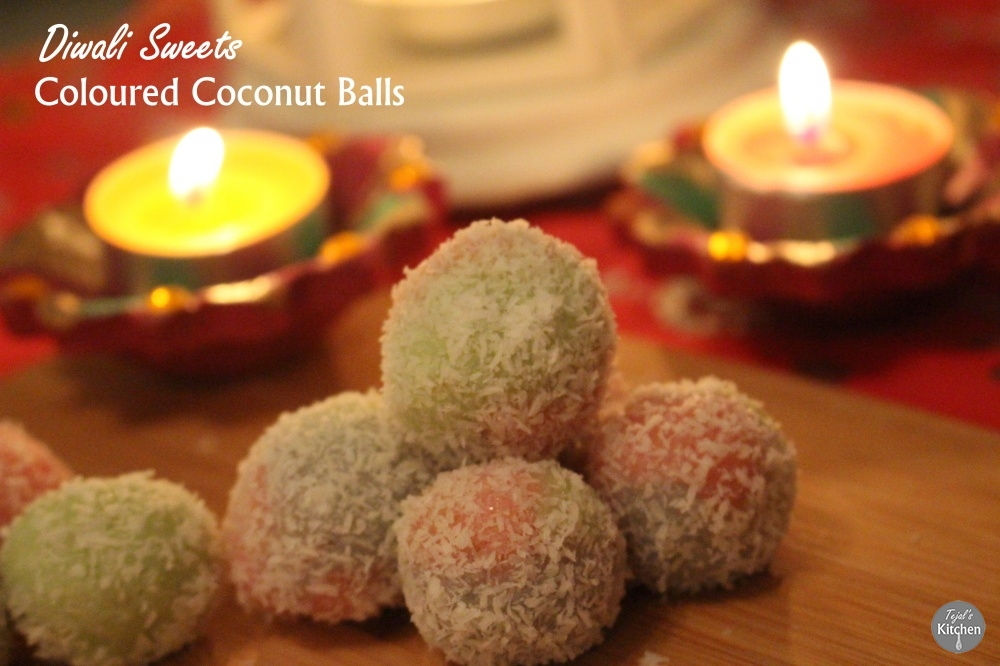 Coloured Coconut SnowBalls - Diwali Recipe