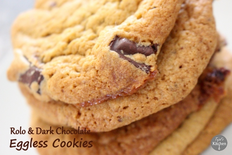 Rolo & Dark Chocolate Cookies ( Eggless)