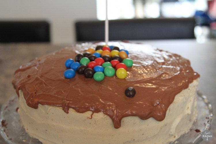 Anti-Gravity M&M Peanut Butter Chocolate Cake