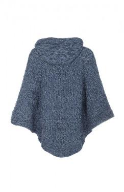 Poncho grey blue back