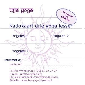 Cadeaubon teja yoga 3 lessen
