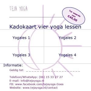 Cadeaubon teja yoga 4 lessen
