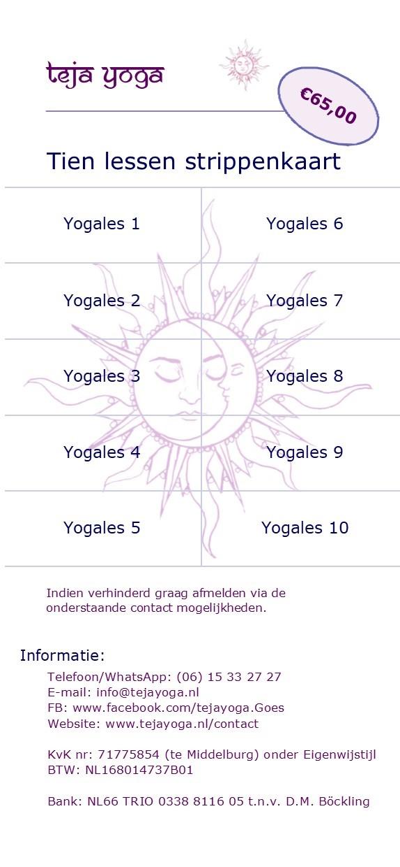 Strippenkaart teja yoga 10 lessen voor jongeren