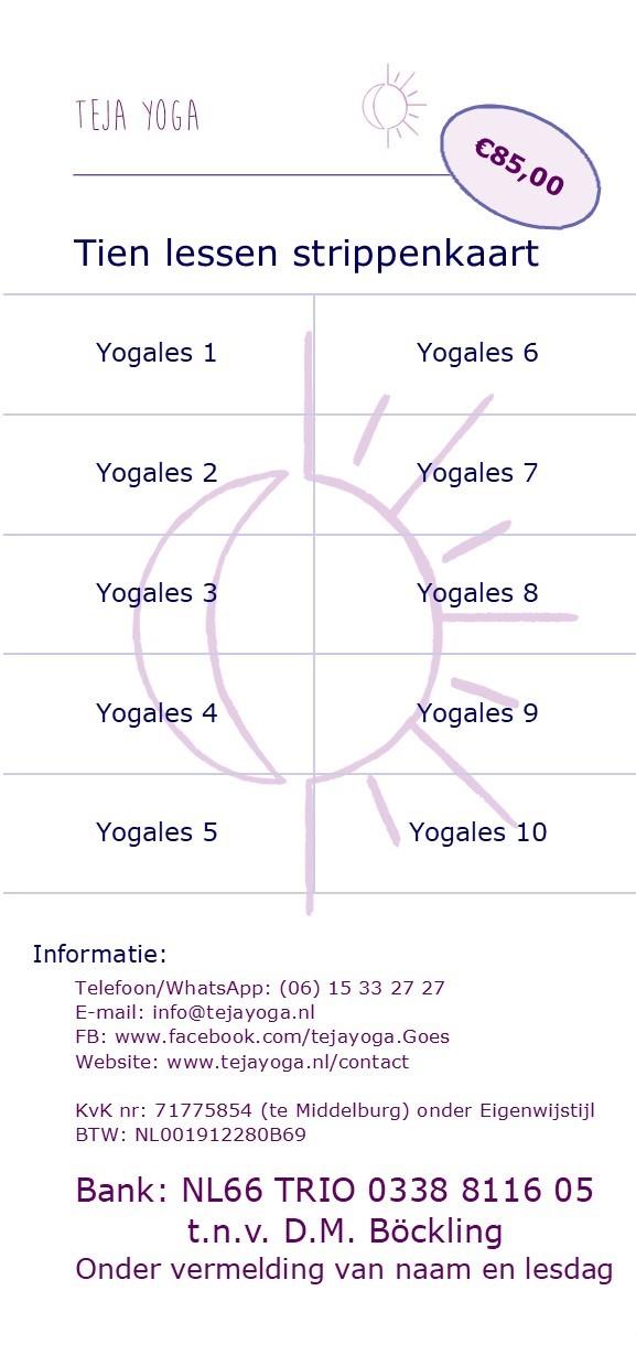 Strippenkaart teja yoga 10 lessen voor volwassenen
