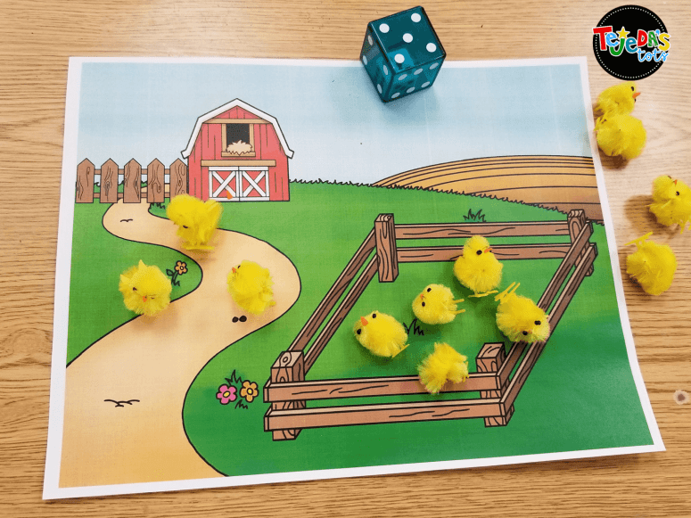 Students rolled dice to show addition with these farm-themed mats. #tejedastots
