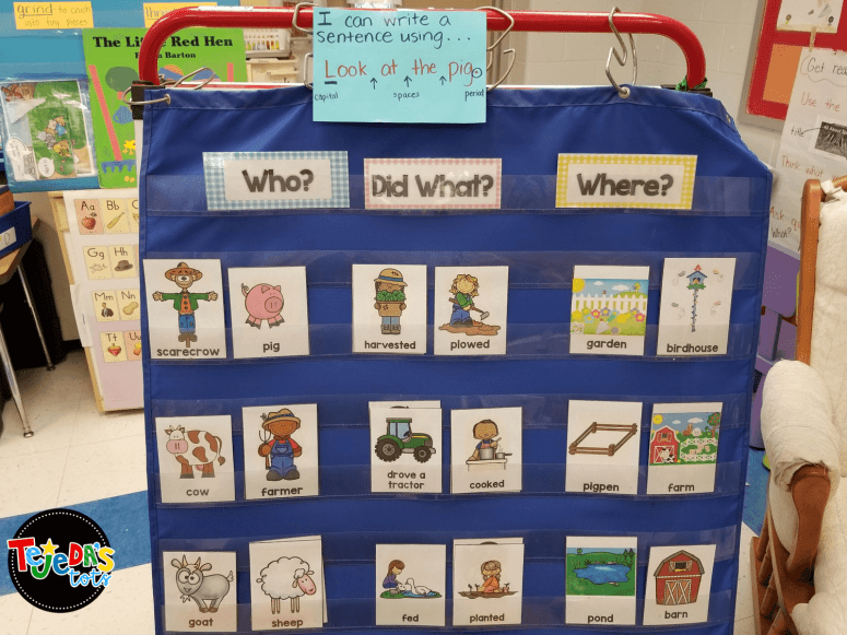 Farm sentences at our farm writing center. Students sorted and picked a card from each category, told sentences orally, then wrote and illustrated sentences. #tejedastots