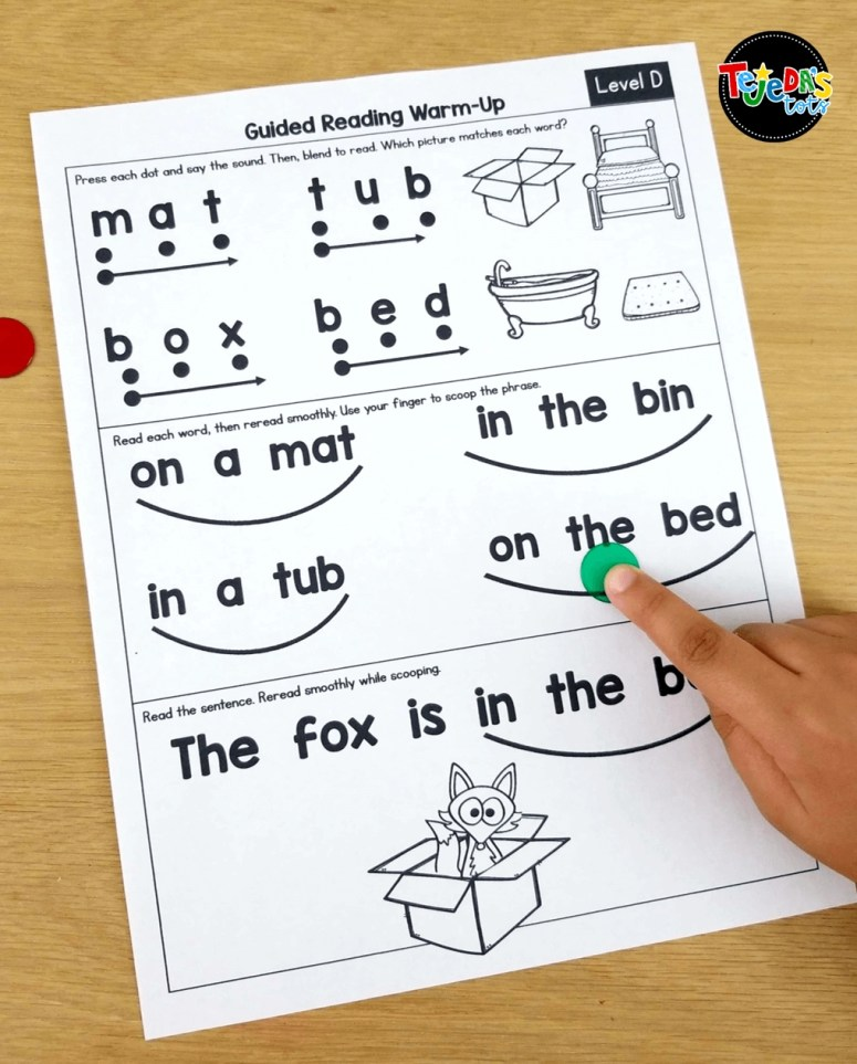 These guided reading warm-ups are perfect to get your kindergarten and first grade students ready for reading. Review skills and strategies they need before diving into a book. Teacher instructions to read are in each box to make it easy. Organized by level. #tejedastots #guidedreading