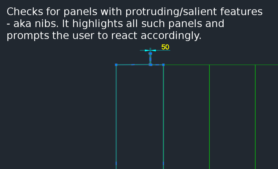 There is a need to identify panels with protruding features because they could be problematic if fabricated.