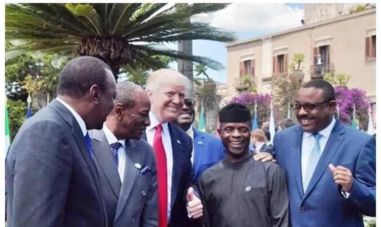 The Best Photos Of Acting President Yemi Osinbajo During G7 Summit In Italy, With Angela Merkel, Donald Trump etc