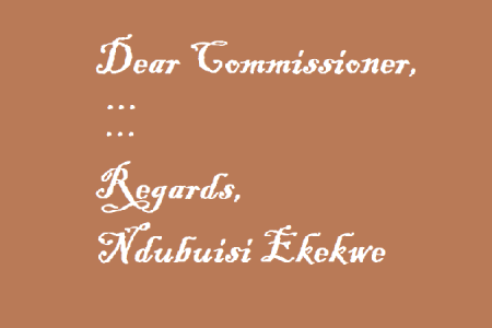 My Letter to State Commissioner Today