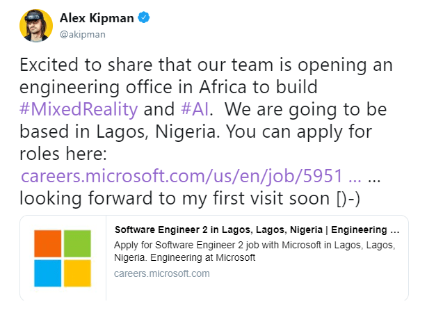 Microsoft Opens Engineering Office for AI and Mixed Reality in Lagos; APPLY for Jobs