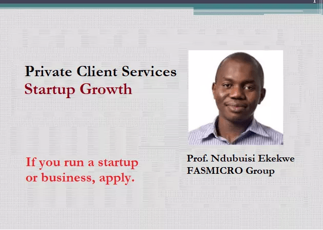 [Apply] Ndubuisi Ekekwe's  Private Client Services – Startup Growth; 24/7 Access To Me