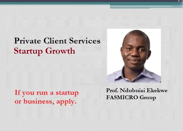 "Ndubuisi Ekekwe, PhD Opens The Next Batch of ""Private Client Services: Startup Growth"" [Apply]"