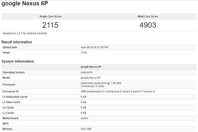 Leaked GeekBench Results of Nexus 6P(2)