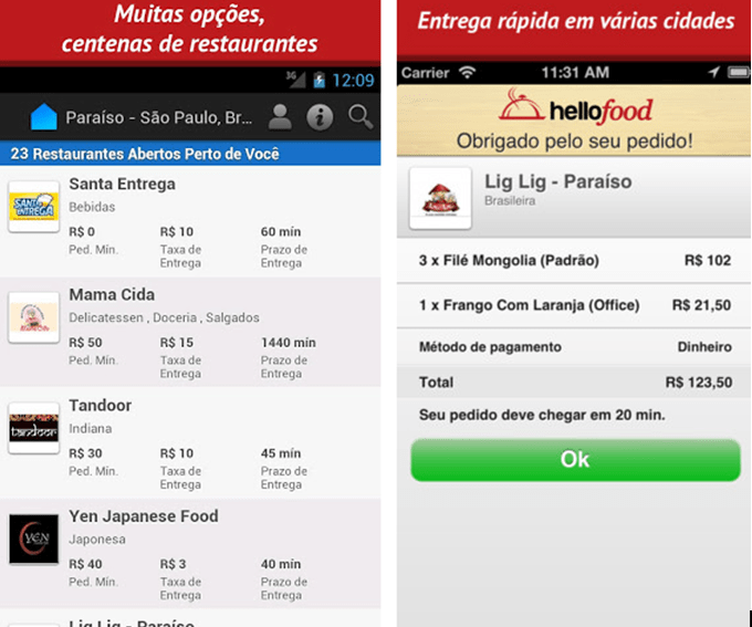Aplicativo Hellofood para Android e iOS