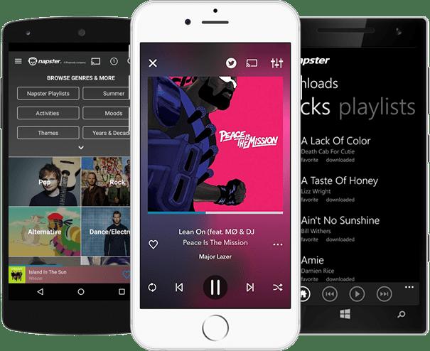 Napster melhores aplicativos de música para android