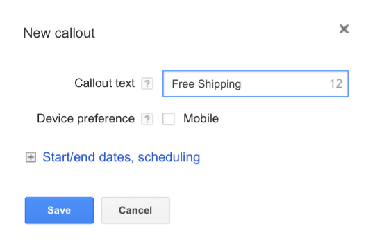 Callout AdWords Extension Guide - 3 Enter Text and Schedule