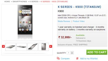 Lenovo K900 Available in India