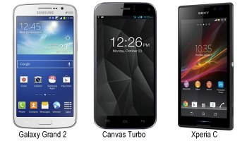 Compare Galaxy Grand 2, Sony Xperia C and Canvas Turbo