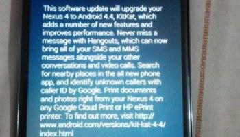 Google Nexus 4 getting Android 4.4 Update